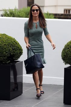 Pin for Later: With a Quick Shoe Swap, Pippa Turned Her Polished Dress Into Something Cool and Casual Her Outfit Went From Work-Appropriate