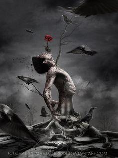 scream in the silence by erool on DeviantArt Arte Horror, Horror Art, Creepy Horror, Creepy Art, Dark Fantasy Art, Beautiful Dark Art, Arte Obscura, Dark Art Drawings, Diy Halloween Decorations