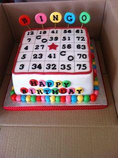 Mom's 70th....2,14,19,44,69,70 not marked Bingo cake