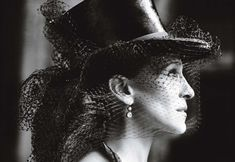 """Sarah Jessica Parker wearing Dior Haute Couture top hat with netting & Fred Leighton diamond double-drop earrings-""""Parker Power"""" photographed by Mario Testino for Vogue May 2010 Mario Testino, Sarah Jessica Parker, Vogue Cover, Vogue Us, Wearing A Hat, Love Hat, Vogue Magazine, Carrie Bradshaw, Madame"""