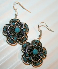 Silver and turquoise earrings by DakotaDesignsbyVicki on Etsy, $28.00