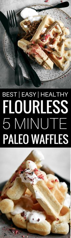 Best gluten free paleo waffle recipe- incredibly light fluffy and not �eggy�! 19g protein per waffle! Made with cassava flour. Easy gluten free waffle recipe. best paleo waffle recipe. best gluten free waffle recipe. grain free waffles. easy paleo waffle