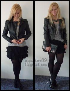 Glam rock fashion! Leather jacket and ruffle skirt // www.blogomodzie.com