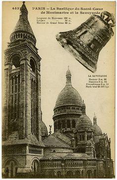 PARIS - La Basilique du Sacré-Coeur de Montmartre et la Savoyarde, Vintage Postcard, Architecture and Buildings inspiration for CAPI Students @ milliande.com , architecture, drawing, buildings