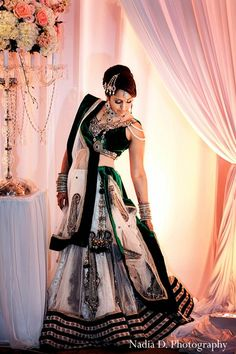 This Indian bride and groom celebrate their marriage in a traditional ceremony with beautiful peaches and cream decor. Indian Bridal Outfits, Indian Bridal Fashion, Indian Bridal Wear, Indian Dresses, Indian Wear, Indian Style, Indian Clothes, India Fashion, Asian Fashion