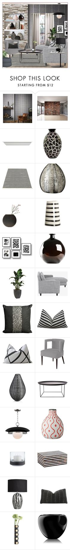 """Bold Graphic Lines"" by idetached ❤ liked on Polyvore featuring interior, interiors, interior design, home, home decor, interior decorating, Graham & Brown, WALL, Home Decorators Collection and NOVICA"