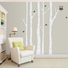 Decorate your baby's nursery or even your living room with these modern and stylish birch tree decals. This set comes with 5 trees, 5 birds, and one adorable owl. Birch Tree Wall Decal, Owl Wall Decals, Tree Decals, Wall Sticker, Peter Rabbit Nursery, White Birch Trees, Bird Tree, Nursery Ideas, Room Ideas
