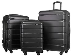 Merax Newest 3Piece Luggage Expandable Spinner Luggage Set with TSA and Combination Lock Black *** Click image to review more details.