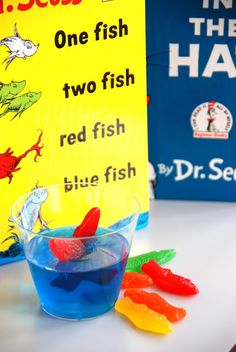 Seuss: Blue jello and swedish fish--party snacks for a cute kid's party. What a cute idea for Dr Seuss week! Dr. Seuss, Dr Seuss Week, One Fish Two Fish, Red Fish, Orange Fish, Fish Fish, Dr Seuss Snacks, Just In Case, Just For You