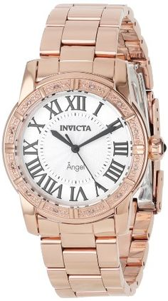 Best buy Invicta Women's 14375 Angel Silver Dial Diamond-Accented 18k Rose Gold Ion-Plated Stainless Steel Watch