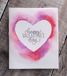 DIY Easy Valentine's Day Card (Minimal supplies required) DIY Easy Valentine. - DIY Easy Valentine's Day Card (Minimal supplies required) DIY Easy Valentine's Day Card (Minim - Roses Valentine, Cat Valentine, Quotes Valentines Day, Valentines Day Cards Handmade, Valentines Watercolor, Valentine Day Crafts, Watercolor Cards, Simple Watercolor, Valentines Day Drawing