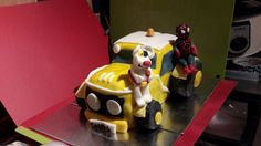 C's 4th Birthday Danger Mouse and Spiderman on a Yellow Tractor (as per a very specific request)