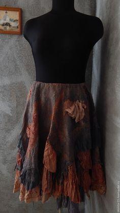 """Купить Авторская валяная юбка """"Панчали"""" (нуно-войлок, бохо-стиль) - комбинированный, юбка"""
