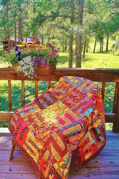 Fall Frenzy--Kaffe Fassett Inspired quilt that makes you feel warm and toasty just by looking at it.