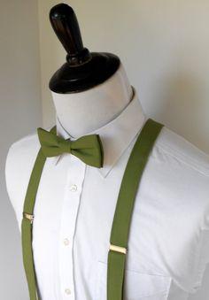 Olive Green Bowtie and Suspenders Set von kellybowbelly auf Etsy