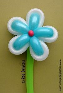 Baloon Flower wrap a 260 flower with a 160. Flor de globos bicolor azul blanco