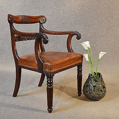 Antique Chair Scroll Arm Quality Leather Armchair Elbow Office Desk Study c1835
