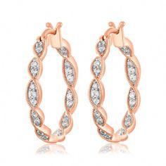 Ct Inside Out Diamond Hoop Earrings Rose Gold Prong Set Huggie Womens Diamond Hoop Earrings, Dainty Earrings, Women's Earrings, Diamond Jewelry, Anniversary Jewelry, Anniversary Ideas, 25th Anniversary, Earring Trends, Modern Jewelry