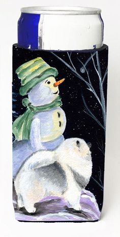 Snowman with Keeshond Ultra Beverage Insulators for slim cans SS8557MUK