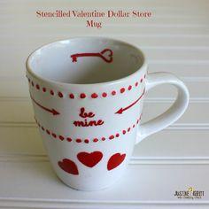 Stenciled Valentine Mug @ Sew Country Chick