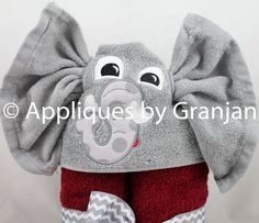 Alabama Hooded Towel with Elephant by AppliquesByGranjan on Etsy