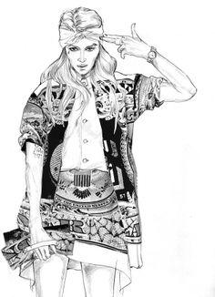 Selina Sanders illustration for LA designer Rik Villa's coloring book 2014