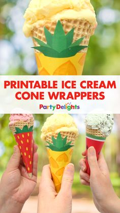 Celebrate summer with our free printable ice cream cone wrappers! Perfect for a summer party, Hawaiian party theme or just for a snack, choose from three different designs including a pineapple, strawberry and watermelon ice cream wrapper.