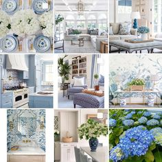 White Home Decor, White Houses, Color Combinations, Gallery Wall, Blue And White, Table Decorations, June, Sunday, Inspiration