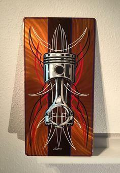 Hot Rod Tattoo, Pinstripe Art, Sculpture Metal, Pinstriping Designs, Garage Art, Airbrush Art, Bike Art, Automotive Art, Arte Pop