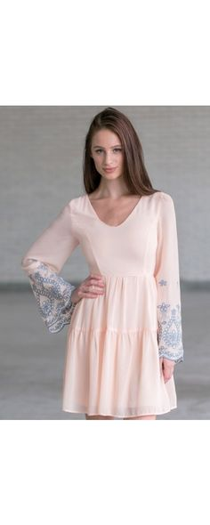 Lily Boutique Angelic Hippie Embroidered Bell Sleeve Dress in Baby Peach, $42 Peach Bell Sleeve Embroidered Dress, Cute Dress Online, Cute Boho Summer Dress www.lilyboutique.com