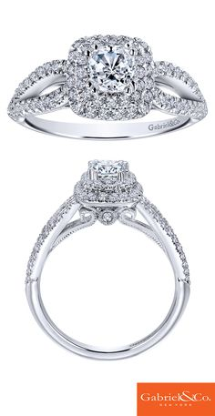 How beautiful is this 14k White Gold Diamond Halo Engagement Ring? Discover your perfect engagement ring at Gabriel & Co.