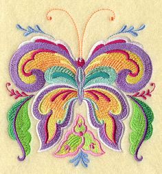 Stunning Rosemaling butterfly embroidered by RockyMountainstitch, $5.50