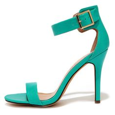 Enjoy the Show Aqua Ankle Strap Heels ($25) ❤ liked on Polyvore featuring shoes, green, green high heel shoes, green shoes, synthetic shoes, high heels stilettos and ankle strap shoes