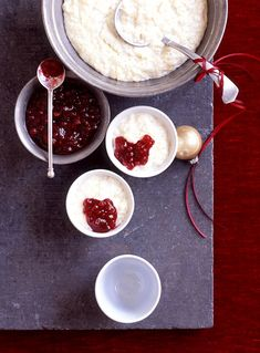 Plum pudding may be the traditional Christmas dessert, but our rice pudding is just as delicious without all the work. Top each serving with purchased lingonberry sauce for an extra festive touch. #traditionalchristmasdinner #holidaydinnermenu #classicchristmasdinnerideas #familydinner #bhg