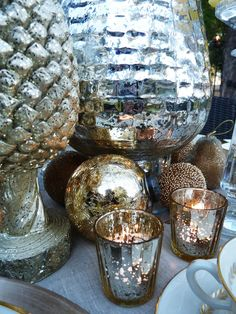 Mercury Glass Holiday Tablescape: SERIOUSLY starting to collect mercury this year: I <3