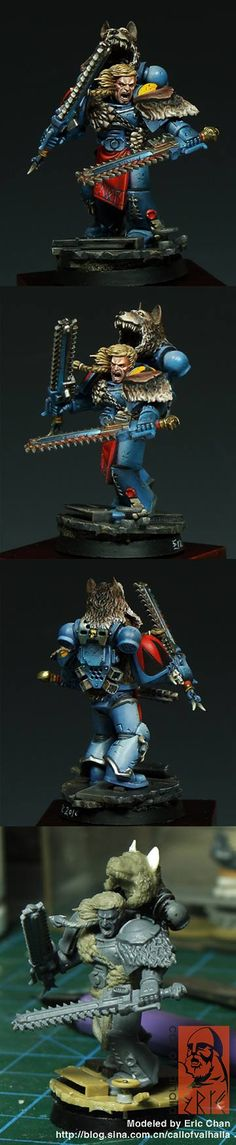 Space Wolf Blood'Maw Lone Wolf w/ twin chainswords & mark of the wulfen