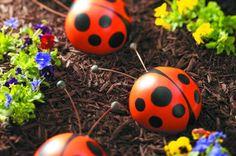 décoration jardin avec coccinelle et violettes