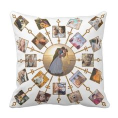 #template - #Family Photo Collage 42 Pictures Pretty White Gold Throw Pillow