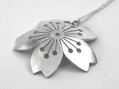 Domed Sterling Silver Sakura Pendant