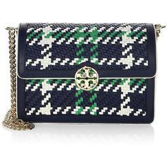 Tory Burch Duet Woven Micro Chain Crossbody Bag ($403) ❤ liked on Polyvore featuring bags, handbags, shoulder bags, handbags crossbody, leather handbags, crossbody purses, navy blue leather handbags and leather crossbody handbags