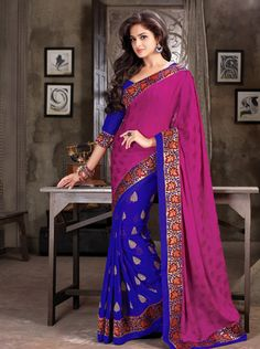 USD 58.98 Magenta and Purple Chiffon Half N Half Party Wear Saree   35899