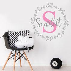 Customise Initial Nursery Room Flowers Baby Girl Mural Sticker Vinyl Decal Decor