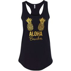 Aloha Beaches and Aloha Bride Pineapple Tank Tops Bachelorette Tank... ($15) ❤ liked on Polyvore featuring tops, tanks, white, women's clothing, bridal party tank tops, bride tank, party tank tops, white tank and flat top