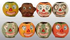 Eight German Halloween Jack-O-Lanterns.