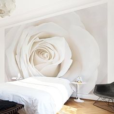 Nonwoven Wallpaper Pretty White Rose Mural Wide wallpaper wall mural photo feature wallart wallpaper murals bedroom living room -- Click image to review more details.