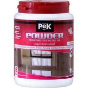 Pek Powder - Granitos Escuros  PEK Powder é o único pó para polimento produzido no Brasil. Na versão Porcelanatos/Quartzitos, é um dos únicos do mundo. Através de ação mecânica, este produto desenvolve o brilho natural dos revestimentos, o lustro final. Perfeito também para recuperação de arranhões superficiais. É produzido para todo tipo de revestimento polido lustrável em três versões: Mármores/Travertinos, Granitos, e Porcelanatos/Quartzitos.   www.colar.com