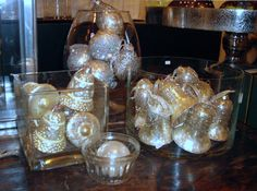 Lovely vintage and new glass ornaments.