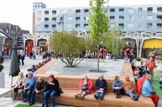 Blooming City Nieuwegein by Bureau B+B « Landscape Architecture Platform Contemporary Landscape, Urban Landscape, Landscape Design, Urban Furniture, Street Furniture, New Urbanism, Public Space Design, Public Realm, Urban Park