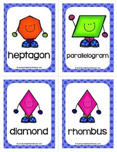 Shape Flash Cards by A Wellspring of Worksheets Kindergarten Flash Cards, Kindergarten Learning, Preschool Activities, Toddler Learning, Preschool Classroom, Teaching Kids, Classroom Ideas, Learning Shapes, Learning Colors