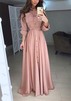 Pink Plain Pockets Single Breasted Fashion Maxi Dress